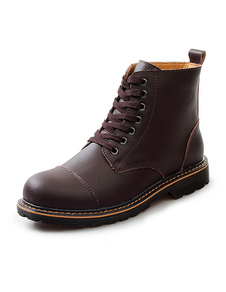 Round Toe Cowhide Lace Up Martin Boots