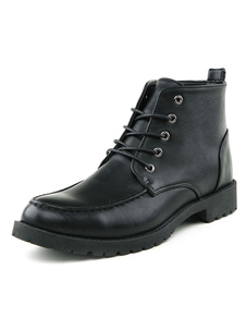 Leather Round Toe Lace Up Martin Boots