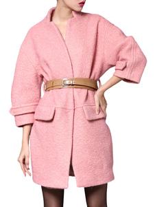 Pink Long Belted Boyfriend Coat