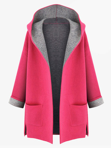Rose Red Long Hooded Cotton Blend Coat