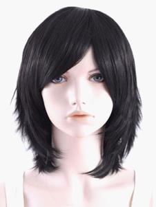 Black Medium Side Parting Straight Full Halloween wig
