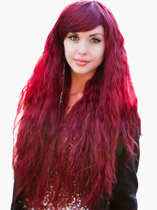 Burgundy Corkscrew Curls Long Full Halloween wig