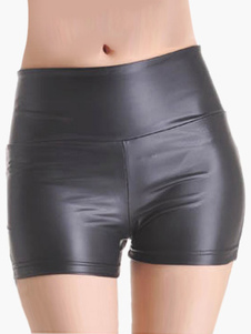 High Waist Patent PU Leather Shorts for Women