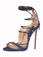 Blue Gladiator Sandals High Heel Open Toe Lace Up Ankle Strap Sandal Shoes 4292