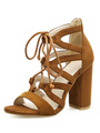 Brown Gladiator Sandals Suede Open Toe Lace Up Ankle Strap Sandals High Heel Sandal Shoes 4292