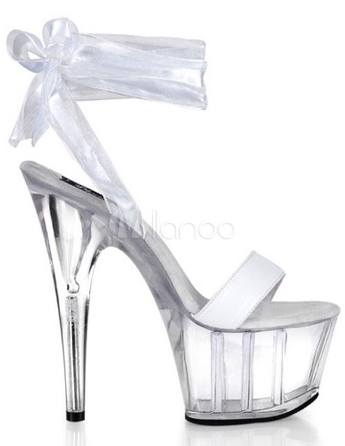 "5 7/10"" High Heel 1 4/5"" Platform Patent Leather White Clear Platform Sexy Sandals With Lace Straps"