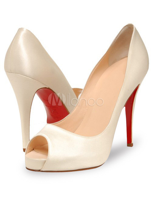 "4 7/10"" High Heel White Satin Peep Toe Sexy Pumps"
