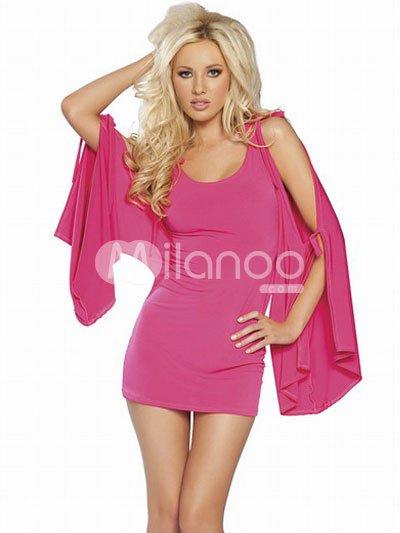 Modern Sexy Cool Pink Acrylic Spandex Womens Club Dress