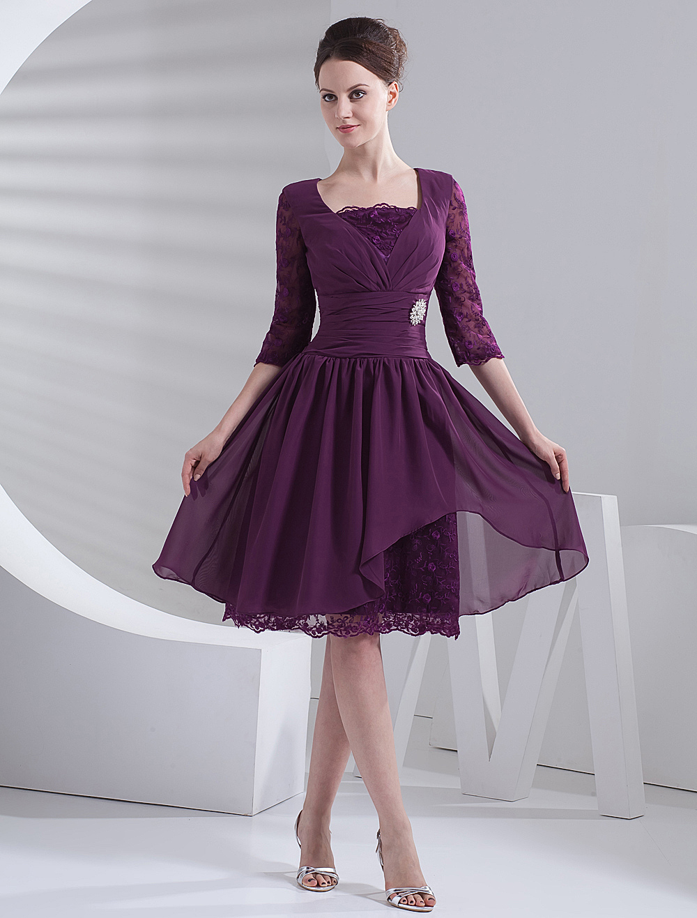Wedding Guest Dresses Purple Plum Short Mother Dresses Lace Half Sleeve Pleated Chiffon Cocktail Dress Wedding Guest Dress