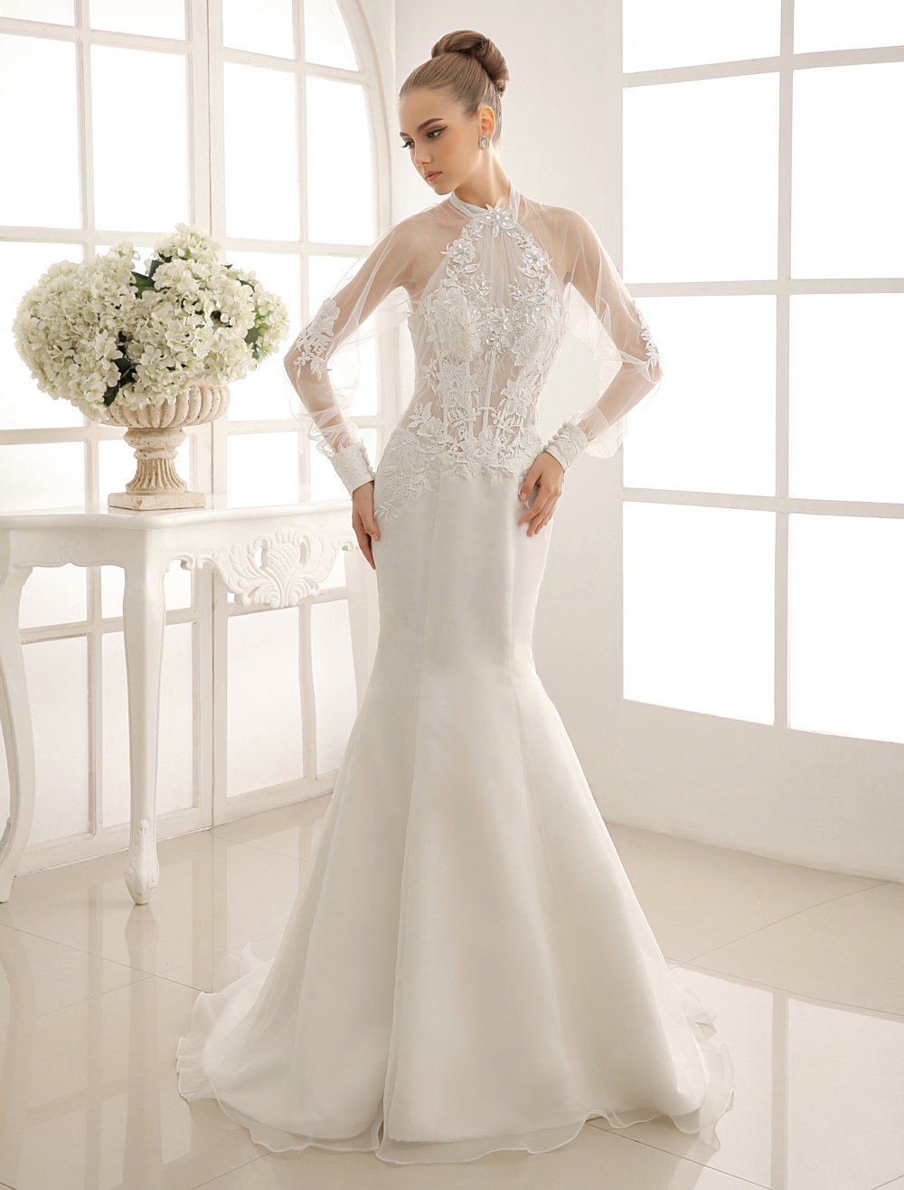 Mermaid Wedding Gown With Halter Lace Milanoo