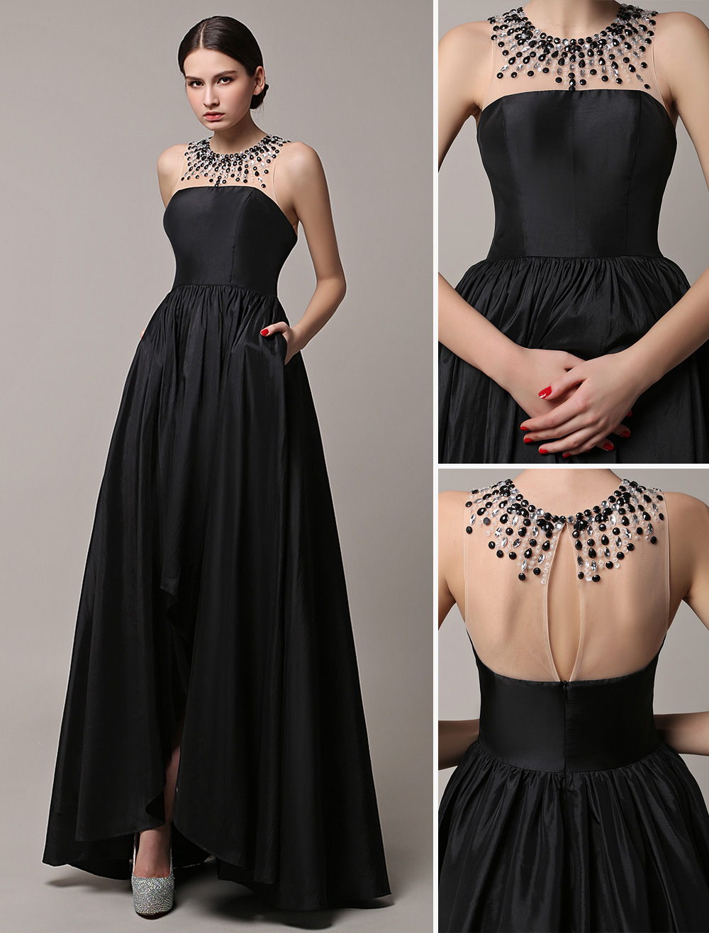 Black Prom Dresses 2018 Long Wedding Dress High Low Beading Illusion Neckline Taffeta Evening Dress Wedding Guest Dress Milanoo