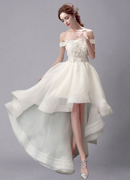 wedding dresses high low robe de mari 233 e fleurie ivoire robe haut bas dentelle 9353