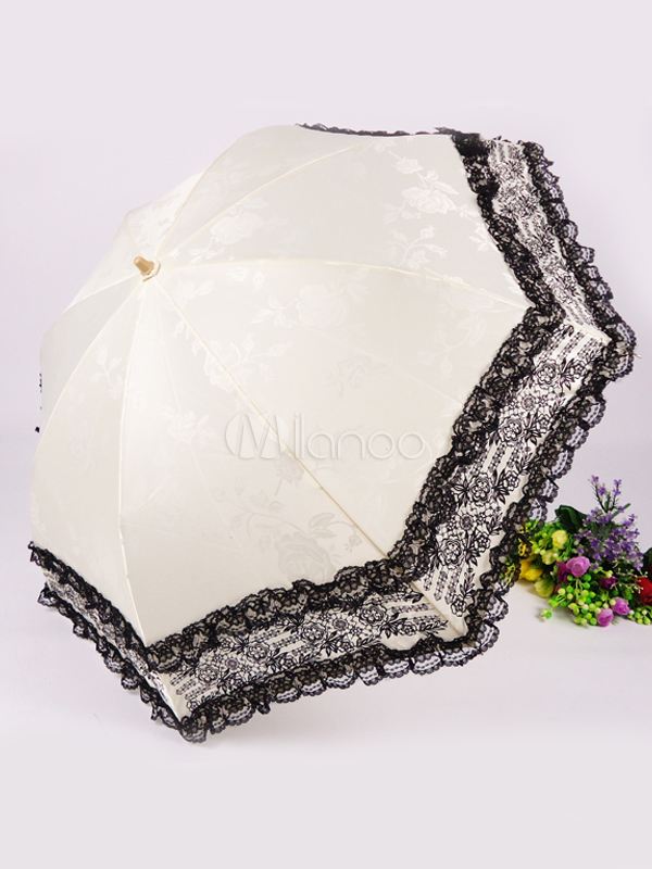 White Jacquard Cloth Lace Trim Lolita Umbrella