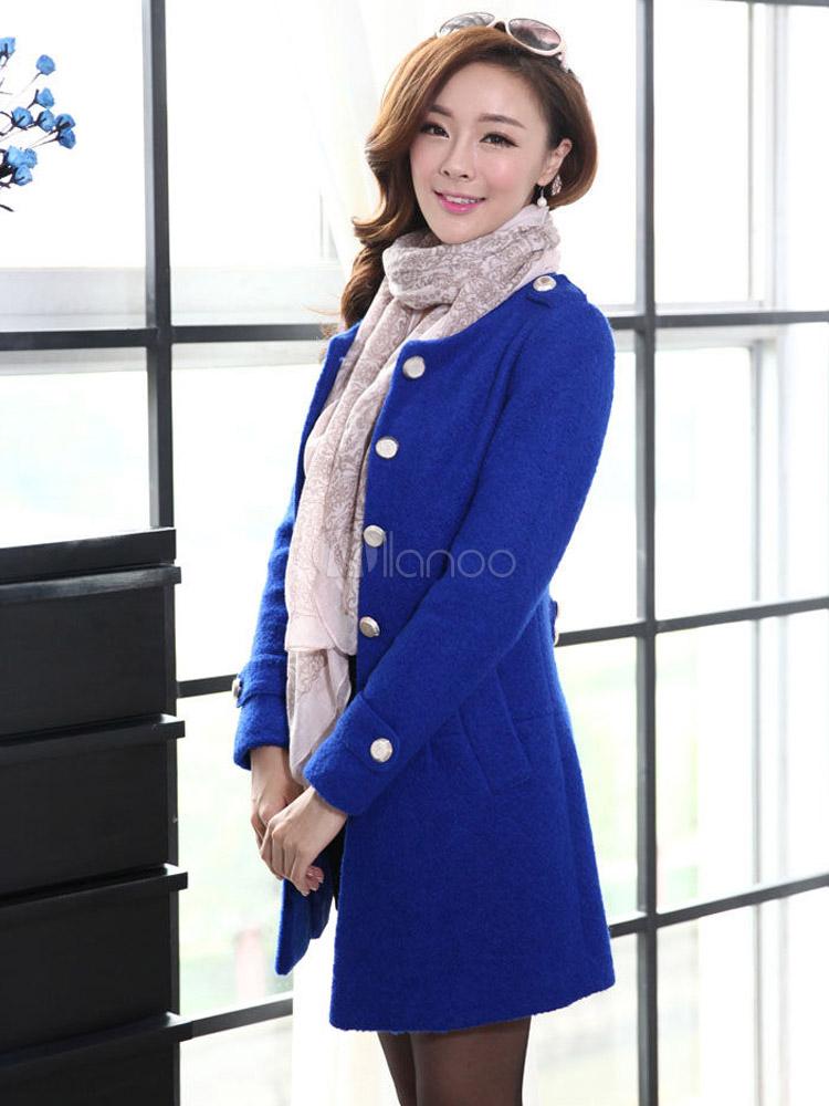Manteau bleu roi femme