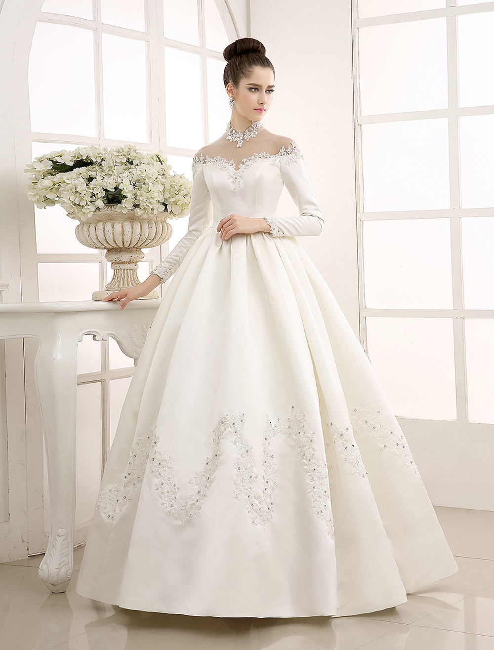 Ivory Wedding Dress/Ball Gown with High Collar Applique Milanoo