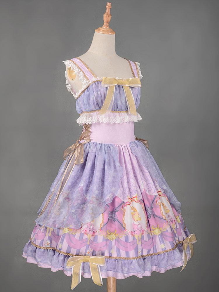 Sweet Lolita Dress JSK Christmas Deer Royal Blue Printed ...