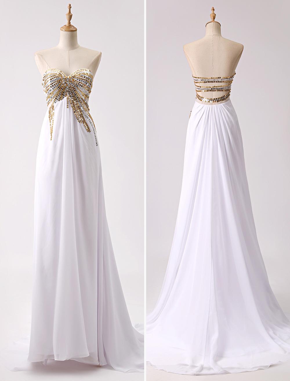 A-Linien Prom-Kleid aus Chiffon - Empire-Stil - flanevo