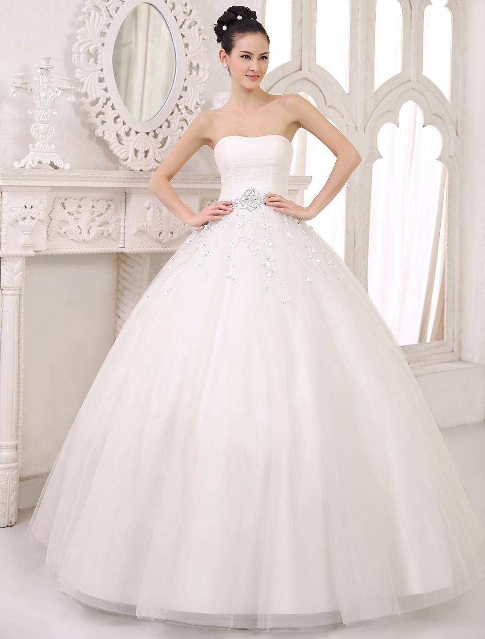 Trägerloses Brautkleid aus Tüll - Princess-Stil - flanevo