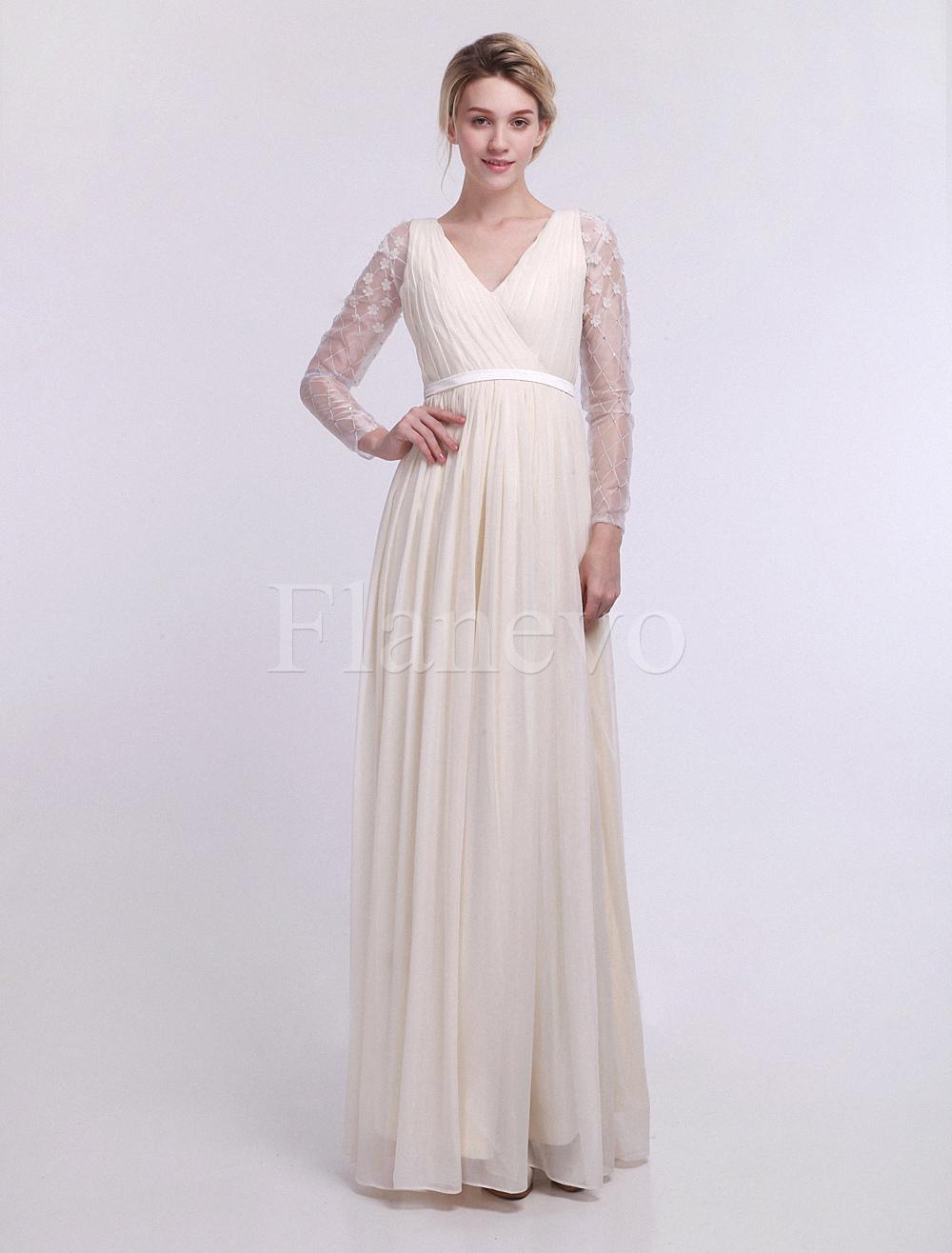 Bodenlanges Kleid mit Spitze Milanoo - Empire-Stil - flanevo